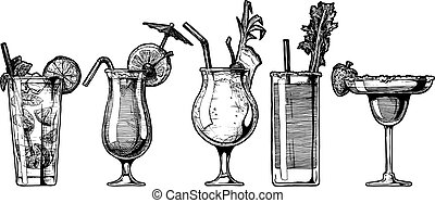 Vector set of alcohol cocktail - Vector hand drawn...