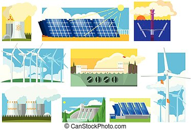Vector set of alternative energy sources. Electricity production industry. Solar, wind, hydroelectric, nuclear and thermal power plants