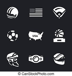 Vector Set of America Symbols Icons.