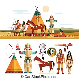 Vector set of American indian tribal objects, icons, design elements in flat style. Totem, fire place