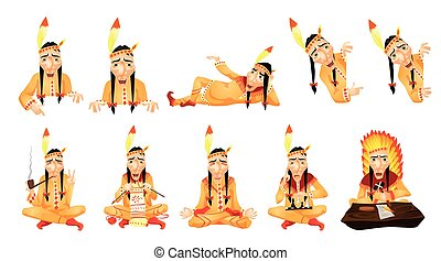 Vector set of american indians illustrations.