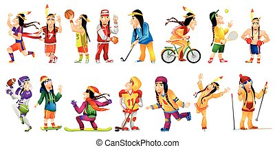 Vector set of american indians sport illustrations