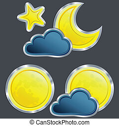vector set of an icons of the weather night with moon and star