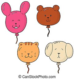 vector set of animal balloon