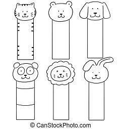 vector set of animal bookmark