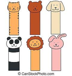 vector set of animal bookmark