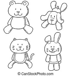 vector set of animal dolls