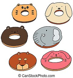 vector set of animal donut