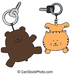 vector set of animal keychain