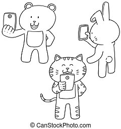 vector set of animal using smartphone
