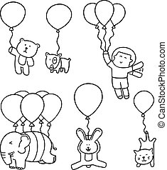 vector set of animal with balloon