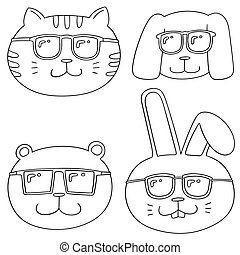 vector set of animal with sunglasses