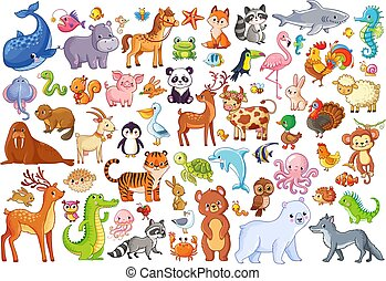 Vector set of animals. Home favorites. Mammals.