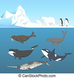 Vector set of animals living in a cold climate. Polar bear, ...