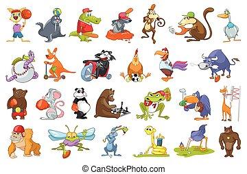 Vector set of animals sport illustrations.