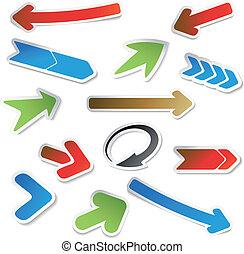 Vector set of arrow stickers