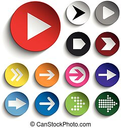 Set of Arrows on Colorful Buttons