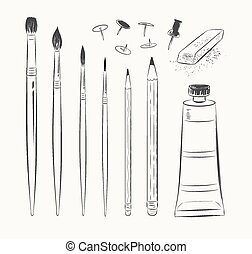 Vector set of art tools.