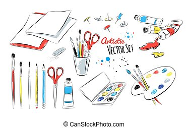 Vector set of artists supplies