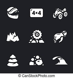 Vector Set of ATV Icons. - Helmet, four-wheel drive,...
