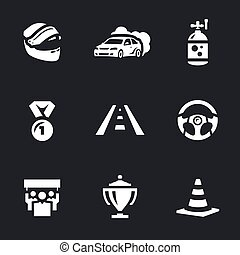 Vector Set of Auto Rally Icons. - Helmet, car, nitro, medal,...