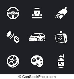 Vector Set of Auto tuning Icons. - Steering wheel, chair,...