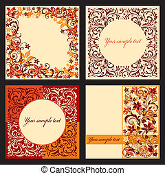 Vector set of autumn cards.