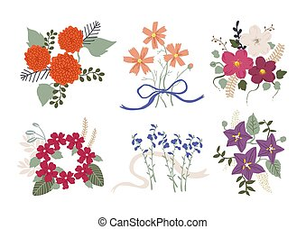 Vector set of autumn flowers icons. Dahlia, cosmos, verbena, balloon flower, japanese anemone and blue sage. Flat cartoon colorful vector illustration.