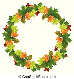 Vector set of autumn leaves round frames Collection of fall themed circle shaped frames with design elements featuring leaves, rowan berries, acorns and pine cones