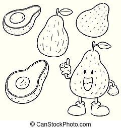 vector set of avocado