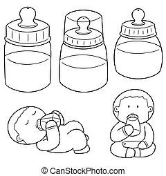 vector set of baby bottle