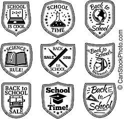Vector set of Back to school labels. With bus, backpack, book, laptop, rulers etc.