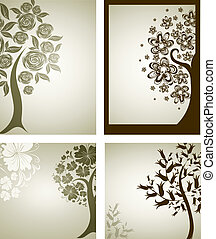 decorative tree from flowers. Thank - Vector set of...