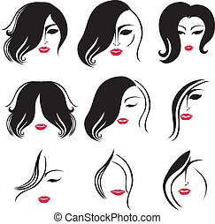 hair styling - Vector set of backgrounds with hair styling...