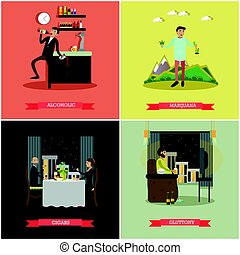 Vector set of bad habits concept posters in flat style