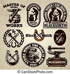 vector set of badge, design element, templates for logo design on the theme of blacksmithing