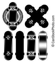 Vector set of badge, design elements with skateboards