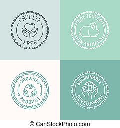 Vector set of badges and emblems in trendy linear style for...