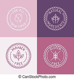 Vector set of badges and emblems in trendy linear style for ...