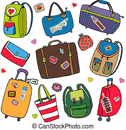 Vector set of bags, backpacks and suitcases.