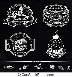 Vector set of bakery and cakes labels, design elements, emblems, badges. Isolated logo illustration in vintage style.