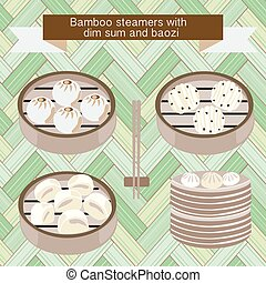 set of Bamboo steamers with dim sum and baozi