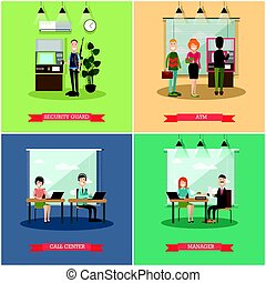 Vector set of bank concept square posters in flat style -...