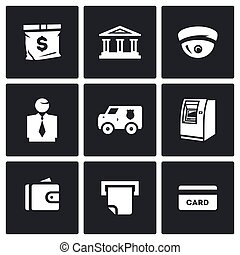 Vector Set of Banking services Icons. Money Bag, Bank Building, CCTV, Banker, Collector Car, ATM, Wallet, Check, Card.