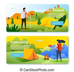 Vector set of banner templates with people hiking