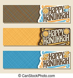 Vector set of banners for Hanukkah holiday with copy space,...