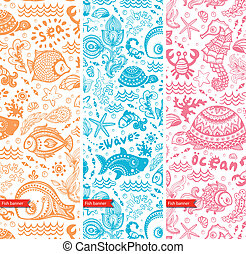 Vector set of banners with fish and shells for your business...