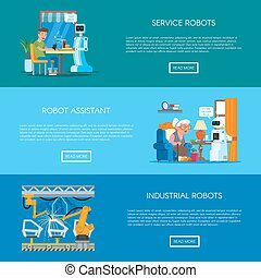 Vector set of banners with home, service, industrial automation concept