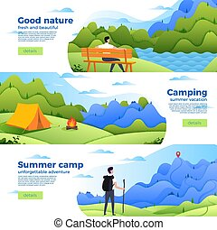 Vector set of banners with park, camp and mountain