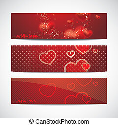 vector set of banners with red hearts